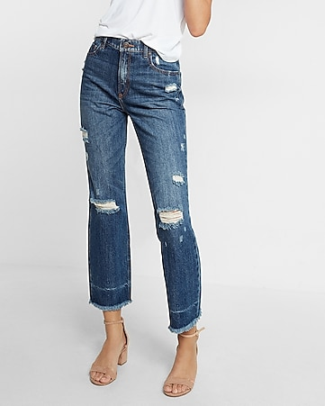 high waisted distressed vintage ankle jeans