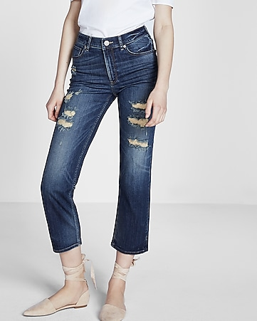 high waisted straight cropped jeans
