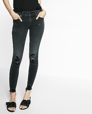mid rise distressed ankle legging