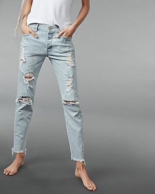 Express Womens Express Womens High Waisted Distressed Original Vintage Skinny Ankle Je