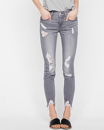 mid rise gray destroyed stretch ankle jean legging