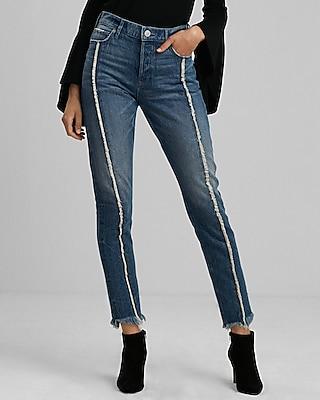 Express Womens High Waisted Fringe Original Vintage Skinny Jeans