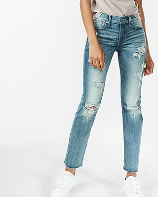 Express Womens Mid Rise Distressed Stretch Straight Leg Jeans