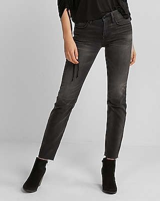 Express Womens Mid Rise Gray Raw Hem Stretch Straight Leg Jeans