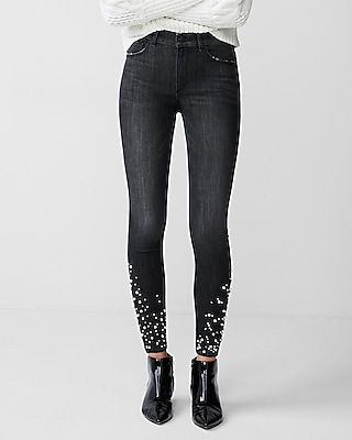 Express Womens High Waisted Pearl Studded Stretch Ankle Leggings