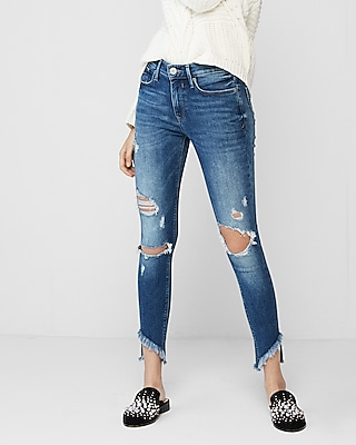 Express Womens Mid Rise Destroyed Stretch Ankle Jean Leggings