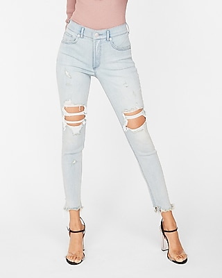 Express Womens Express Womens High Waisted Light Wash Destroyed Denim Perfect Stretch+
