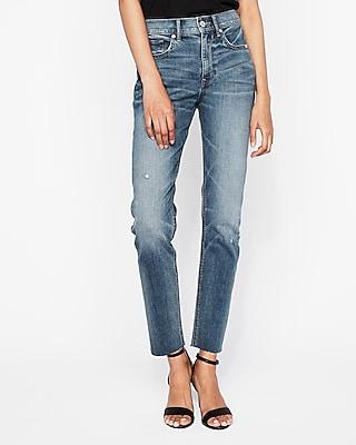 Express Womens High Waisted Raw Hem Original Vintage Skinny Jeans