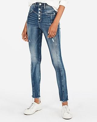 Express Womens Super High Waisted Seamed Stretch+ Jeggings, Women's Size:18 Short Blue 18 Short
