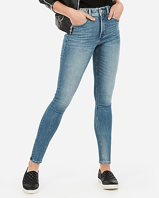 Express Womens Express Womens High Waisted Denim Perfect Lift Light Wash Ankle Leggings