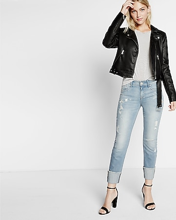 mid rise distressed cuffed crop super skinny jean