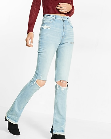 super high waisted distressed jean legging