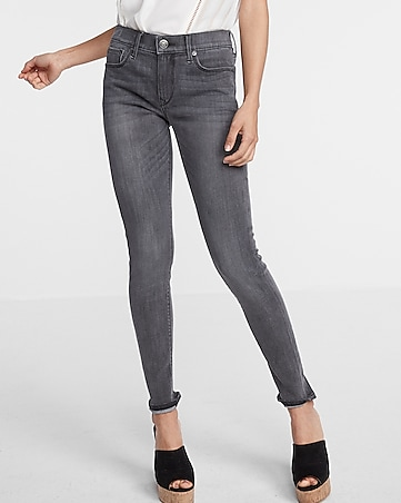 mid rise washed jean legging