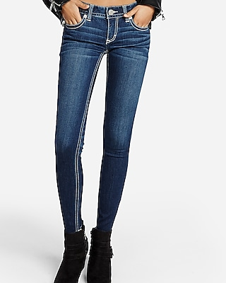 Express Womens Low Rise Contrast Thick Stitch Stretch Jean Leggings