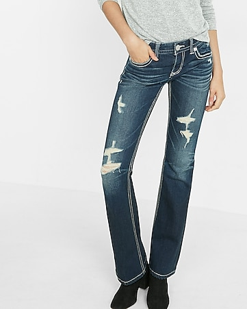 low rise dark wash thick stitch bootcut jeans