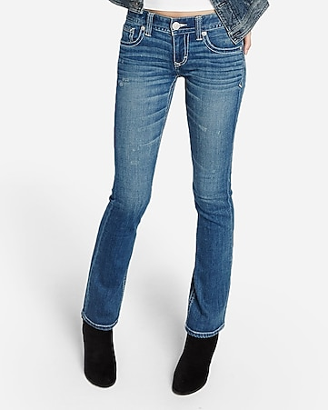 low rise thick stitch distressed barely boot jeans