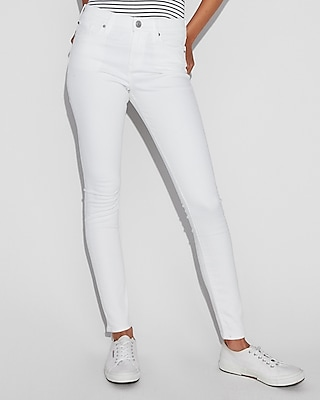 White Mid Rise Stretch Jean Leggings