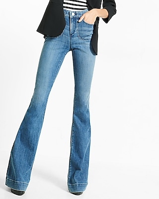 Express Womens High Waisted Bell Flare Jeans