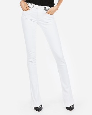 White Mid Rise Stretch Skyscraper Jeans