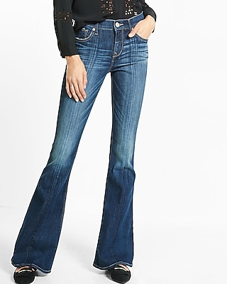 Express Womens Mid Rise Bell Flare Jean Blue 16