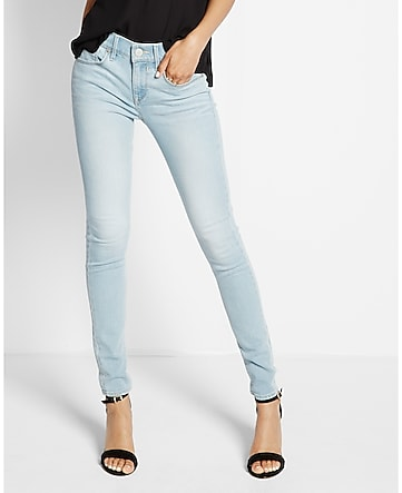 mid rise light blue faded EXP tech jean leggings
