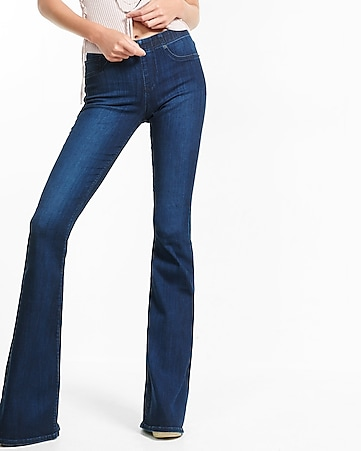 mid rise pull-on bell flare jean