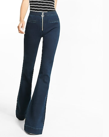 high waisted front zip bell flare jean