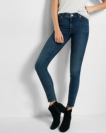 high waisted EXP tech dark wash jean legging