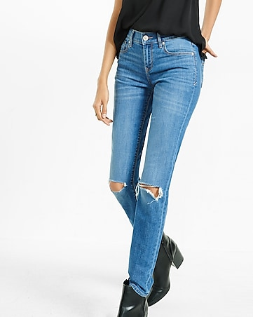 mid rise distressed super skinny jean