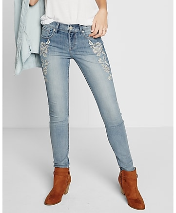 mid rise embroidered jean legging