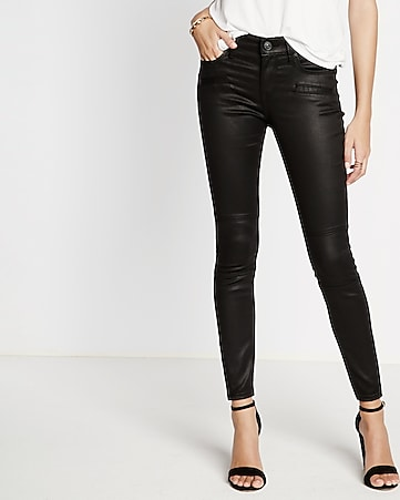 mid rise moto coated ankle jean legging
