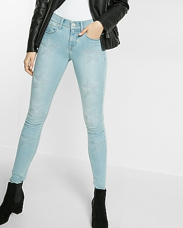 light mid rise stars EXP tech jean legging