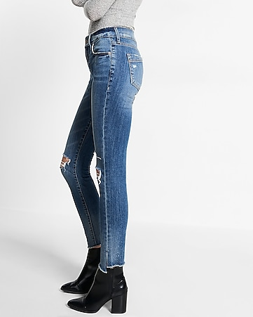 mid rise split hem denim legging