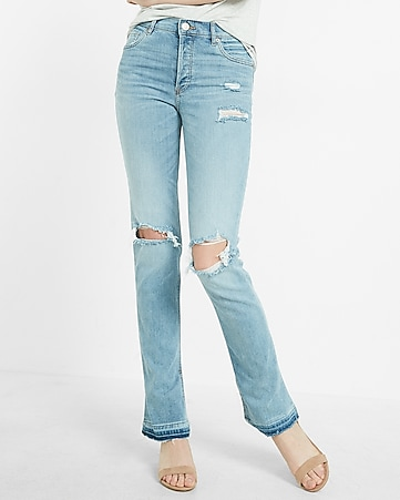high waisted destroyed vintage straight leg jean