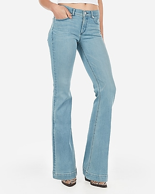 Express Womens Mid Rise Denim Perfect Lift Light Wash Bell Flare Jeans, Women's Size:0 Blue 0