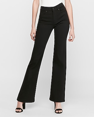 Express High Waisted Black Slim Flare Stretch Jeans