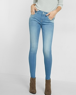 Express Womens Light Wash Mid-Rise Jean Legging