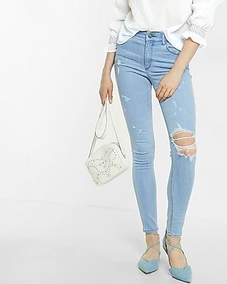 Express Womens High Waisted Destroyed Ankle Jean Legging