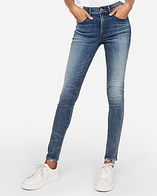 Express Womens Express Womens High Waisted Medium Wash Denim Perfect Stretch+ Leggings