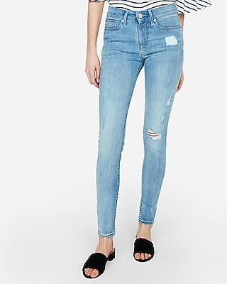 Express Womens Mid Rise Light Wash Ripped Jeggings