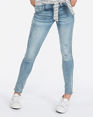 Express Womens Low Rise Ripped Light Wash Jeggings