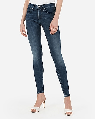 Express Womens Mid Rise Denim Perfect Medium Wash Jeggings