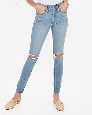 Express High Waisted Light Wash Ripped Jeggings