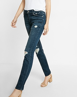 Mid Rise Distressed Dark Wash Skinny Jean