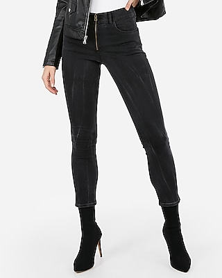 Express Womens High Waisted Zip Front Super Skinny Ankle Length Jean, Women's Size:6 Short Black 6 Short