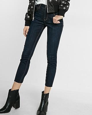 Express Womens High Waisted Raw Hem Cropped Jean Legging Blue 00