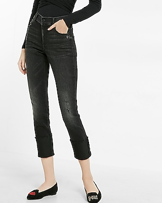 Express Womens Express Womens High Waisted Stretch+Supersoft Cropped Super Skinny Jean