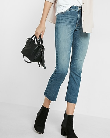 high waisted bell cropped jeans