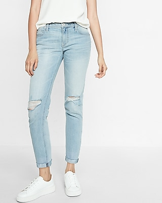 Express Womens Mid Rise Original Girlfriend Jeans
