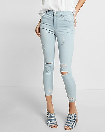 high waisted distressed cropped legging